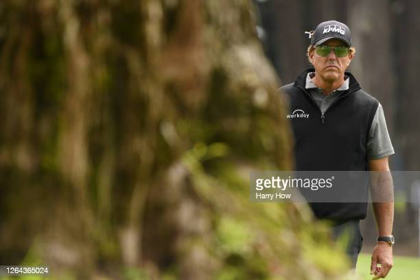Phil Mickelson of the United States lines up a shot on the fourth hole during the first round of the 2020 PGA Championship at TPC Harding Park on...