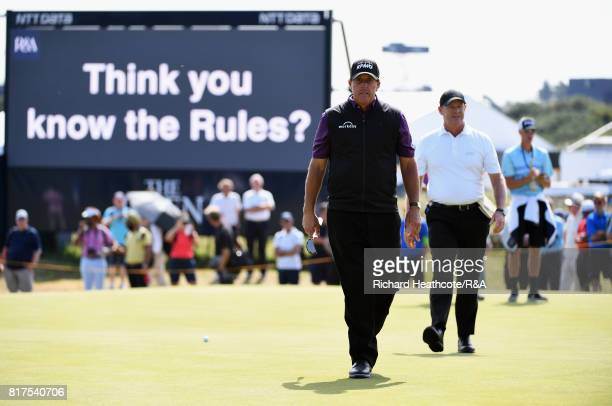 Phil Mickelson of the United States looks on during a practice round prior to the 146th Open Championship at Royal Birkdale on July 18, 2017 in...