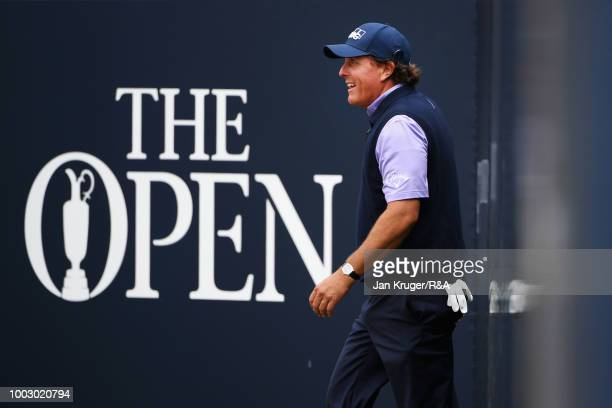 Phil Mickelson of the United States makes his way on to the first tee during round three of the Open Championship at Carnoustie Golf Club on July 21,...