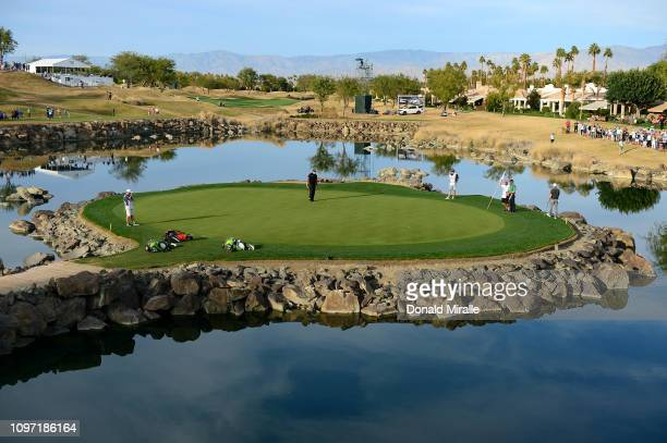 Phil Mickelson of the United States on the 17th green during the final round of the Desert Classic at the Stadium Course on January 20, 2019 in La...