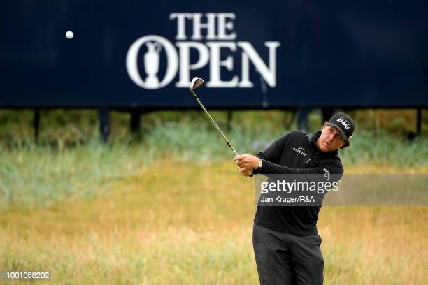 Phil Mickelson of the United States on the 5th hole while on a practice round during previews to the 147th Open Championship at Carnoustie Golf Club...