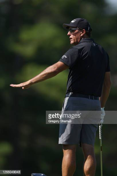 Phil Mickelson of the United States on the practice range prior to a practice round for the Workday Charity Open at Muirfield Village Golf Club on...