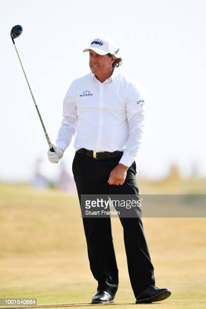 Phil Mickelson of the United States on the sixth hole during the first round of the 147th Open Championship at Carnoustie Golf Club on July 19 2018...