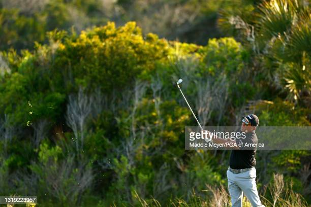 Phil Mickelson of the United States plays a second shot on the tenth hole during the second round of the 2021 PGA Championship at Kiawah Island...