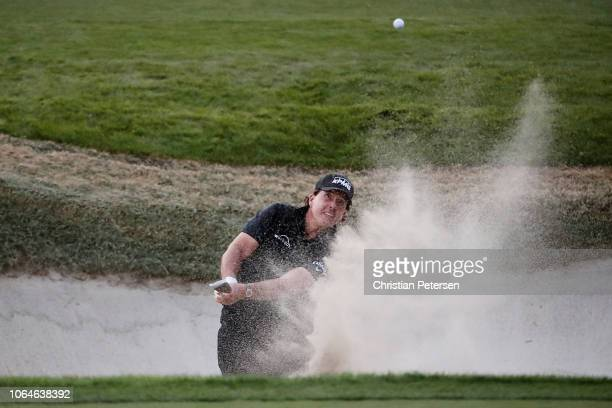 Phil Mickelson of the United States plays a shot from a bunker during The Match Tiger vs Phil at Shadow Creek Golf Course on November 23 2018 in Las...