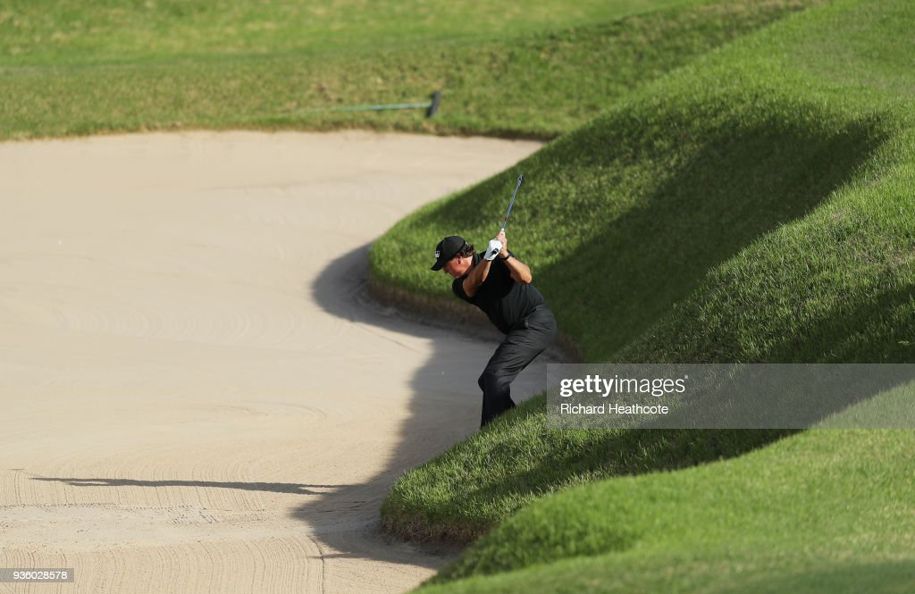 Phil Mickelson of the United States plays a shot from a bunker on the 16th hole during the first round of the World Golf Championships-Dell Match Play at Austin Country Club on March 21, 2018 in Austin, Texas.