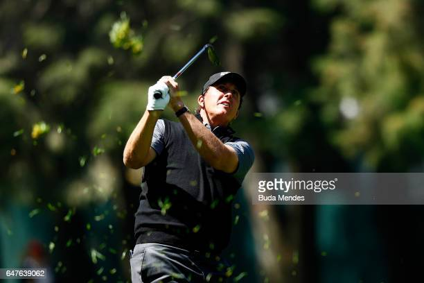 Phil Mickelson of the United States plays a shot on the 11th hole during the second round of the World Golf Championships Mexico Championship at Club...