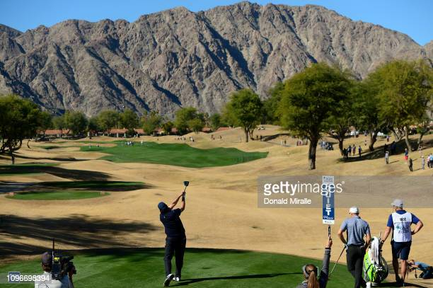 Phil Mickelson of the United States plays a shot on the 3rd tee during the third round of the Desert Classic at the Stadium Course on January 19,...