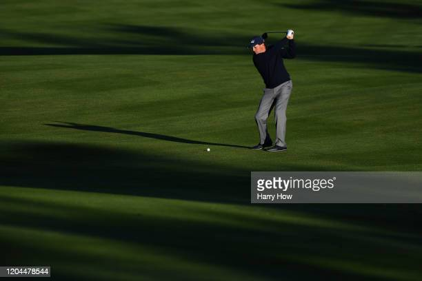 Phil Mickelson of the United States plays a shot on the first hole during the during the first round of the AT&T Pebble Beach Pro-Am at Spyglass Hill...