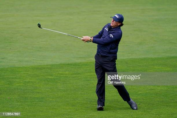 Phil Mickelson of the United States plays a shot on the sixth hole during the third round of the ATT Pebble Beach ProAm at Pebble Beach Golf Links on...