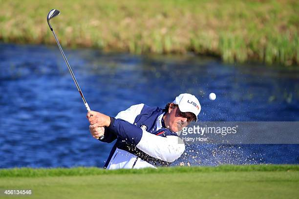 Phil Mickelson of the United States plays from a bunker on the 2nd hole during the Afternoon Foursomes of the 2014 Ryder Cup on the PGA Centenary...
