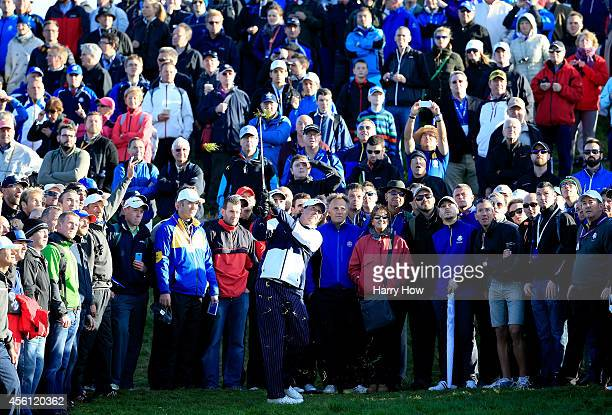 Phil Mickelson of the United States plays from the rough on the 3rd hole during the Morning Fourballs of the 2014 Ryder Cup on the PGA Centenary...