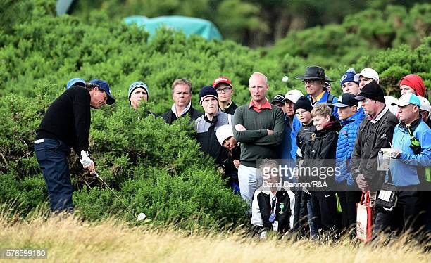 Phil Mickelson of the United States plays his second shot on the 12th hole during the third round on day three of the 145th Open Championship at...