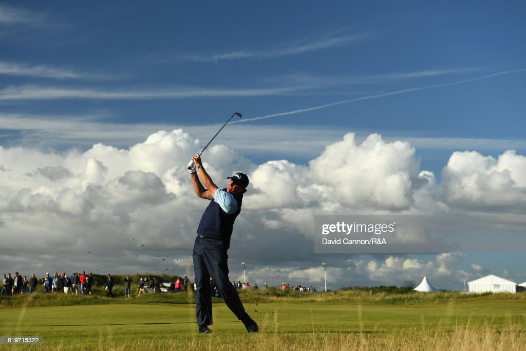 Phil Mickelson of the United States plays his second shot on the 17th hole during the first round of the 146th Open Championship at Royal Birkdale on July 20, 2017 in Southport, England.