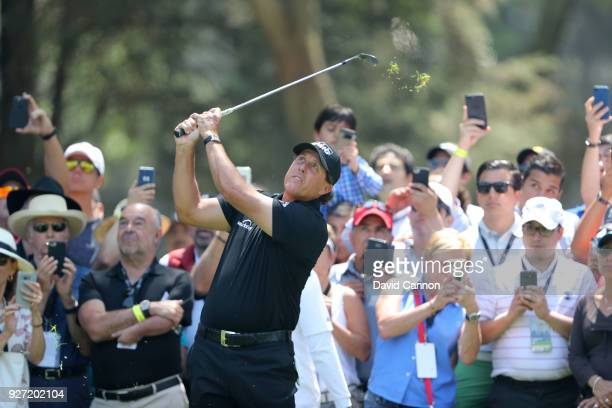 Phil Mickelson of the United States plays his second shot on the second hole during the final round of the World Golf ChampionshipsMexico...