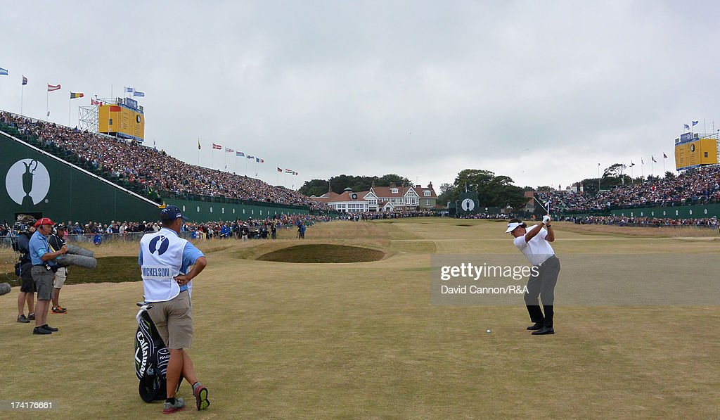 Phil Mickelson of the United States plays his second shot to the 18th hole during the final round of the 142nd Open Championship at Muirfield on July 21, 2013 in Gullane, Scotland.