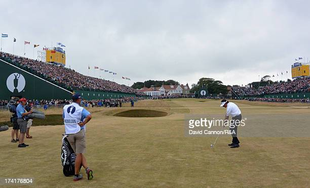 Phil Mickelson of the United States plays his second shot to the 18th hole during the final round of the 142nd Open Championship at Muirfield on July...