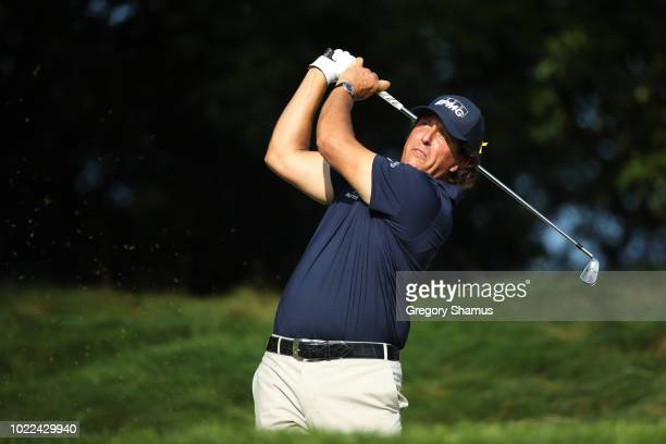 Phil Mickelson of the United States plays his shot from the 11th tee during the second round of The Northern Trust on August 24 2018 at the Ridgewood...