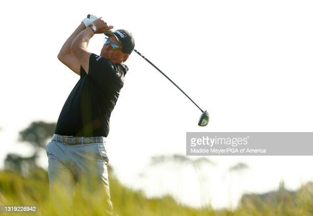 Phil Mickelson of the United States plays his shot from the 11th tee during the second round of the 2021 PGA Championship at Kiawah Island Resort's...