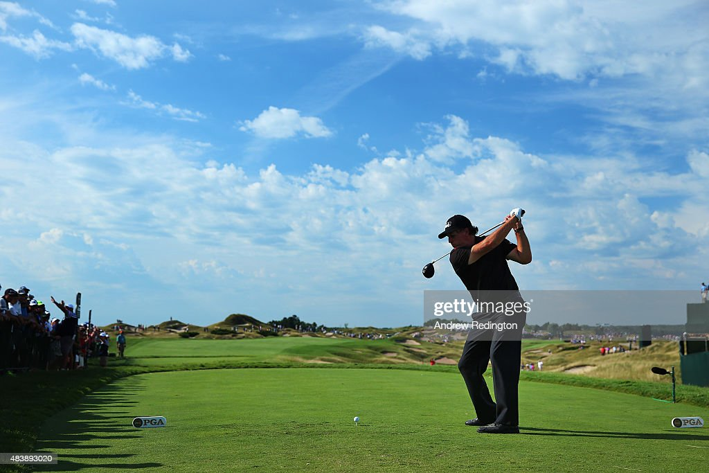 Phil Mickelson of the United States plays his shot from the 11th tee during the first round of the 2015 PGA Championship at Whistling Straits on August 13, 2015 in Sheboygan, Wisconsin.