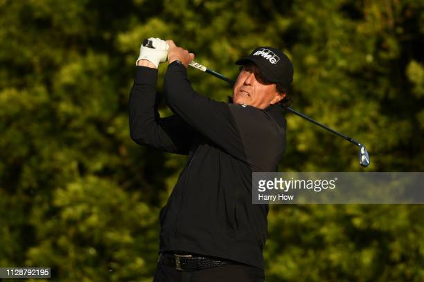 Phil Mickelson of the United States plays his shot from the 12th tee during the final round of the ATT Pebble Beach ProAm at Pebble Beach Golf Links...
