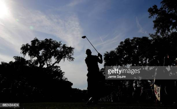 Phil Mickelson of the United States plays his shot from the 15th tee during the second round of THE PLAYERS Championship at the Stadium course at TPC...