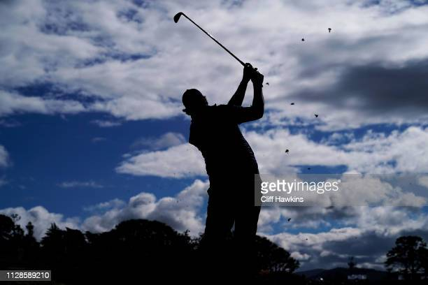 Phil Mickelson of the United States plays his shot from the fifth tee during the third round of the ATT Pebble Beach ProAm at Pebble Beach Golf Links...