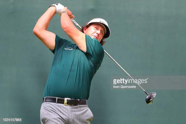 Phil Mickelson of the United States plays his shot from the first tee during the third round of The Northern Trust on August 25, 2018 at the...