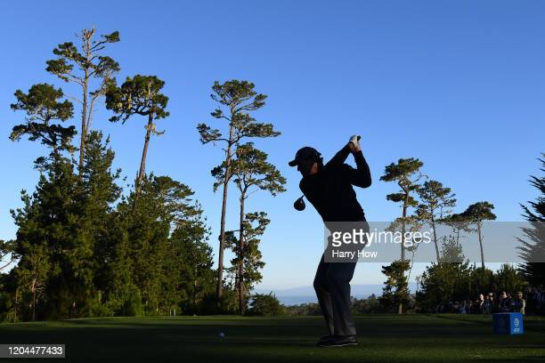 Phil Mickelson of the United States plays his shot from the first tee during the during the first round of the AT&T Pebble Beach Pro-Am at Spyglass...