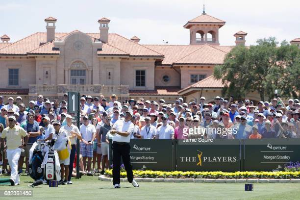 Phil Mickelson of the United States plays his shot from the first tee during the second round of THE PLAYERS Championship at the Stadium course at...