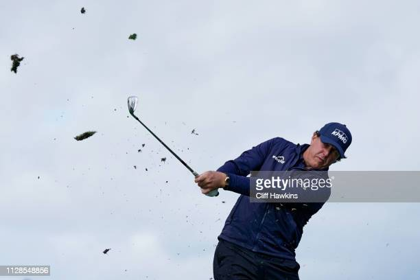 Phil Mickelson of the United States plays his shot from the seventh tee during the third round of the ATT Pebble Beach ProAm at Pebble Beach Golf...