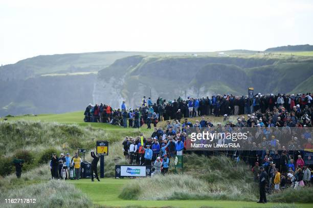 Phil Mickelson of the United States plays his shot from the seventh tee during the first round of the 148th Open Championship held on the Dunluce...