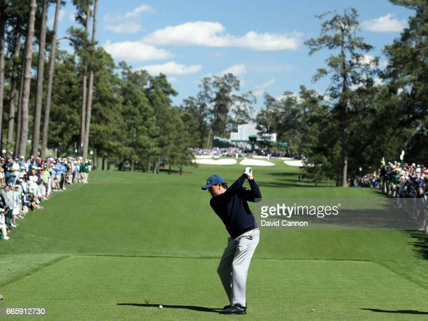 Phil Mickelson of the United States plays his shot from the seventh tee during the second round of the 2017 Masters Tournament at Augusta National...