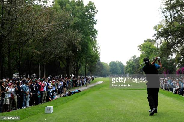 Phil Mickelson of the United States plays his tee shot on the ninth hole during the third round of the World Golf Championships Mexico Championship...