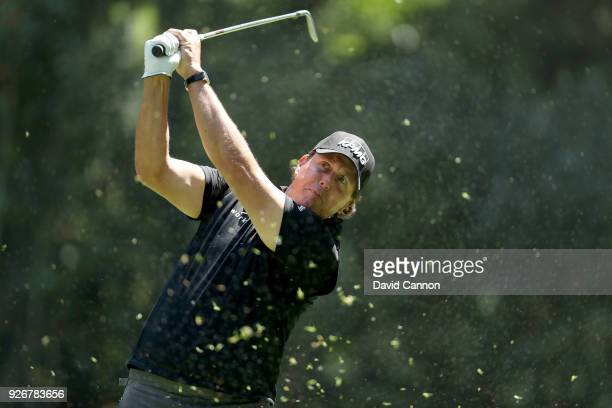 Phil Mickelson of the United States plays his tee shot on the par 3 third hole during the third round of the World Golf ChampionshipsMexico...