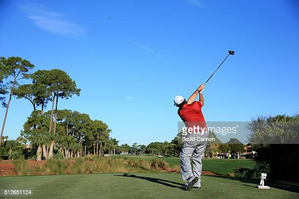 Phil Mickelson of the United States plays his tee shot on the par 4, second hole during the third round of the 2016 Honda Classic held on the PGA...