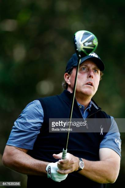 Phil Mickelson of the United States plays his tee shot on the tenth hole during the second round of the World Golf Championships Mexico Championship...