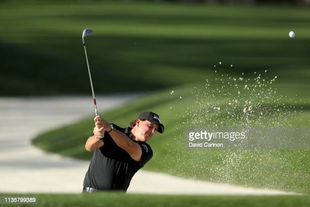 Phil Mickelson of the United States plays his third shot on the par 4 10th hole during the first round of the 2019 Players Championship held on the...
