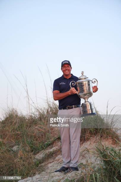 Phil Mickelson of the United States poses with the Wanamaker Trophy after winning during the final round of the 2021 PGA Championship held at the...