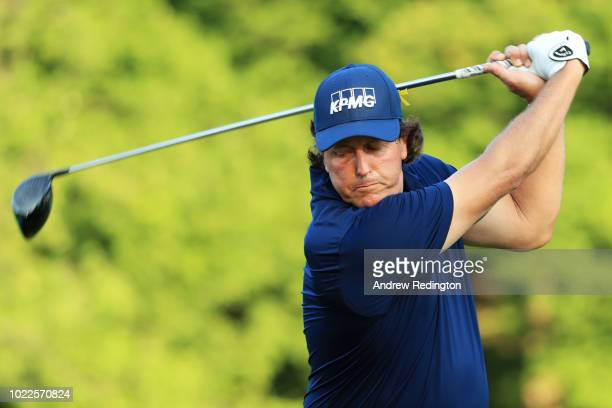 Phil Mickelson of the United States practices on the range during the second round of The Northern Trust on August 24 2018 at the Ridgewood...