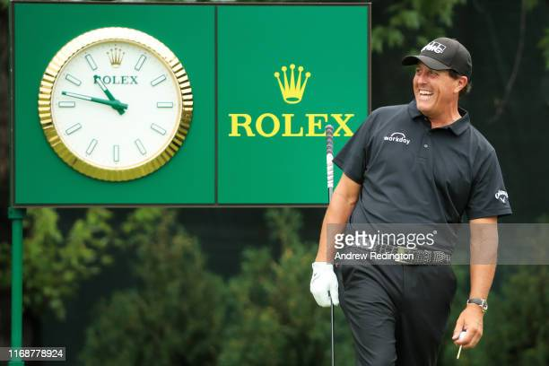 Phil Mickelson of the United States prepares to play from the tenth tee during the final round of the BMW Championship at Medinah Country Club No 3...