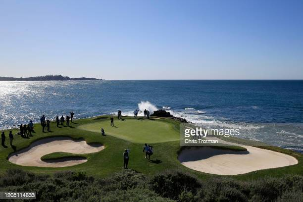 Phil Mickelson of the United States putts on the seventh green during the final round of the ATT Pebble Beach ProAm at Pebble Beach Golf Links on...