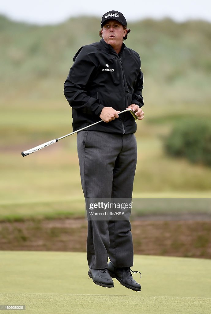 Phil Mickelson of the United States reacts after missing a birdie putt on the 14th green during the first round of the 144th Open Championship at The Old Course on July 16, 2015 in St Andrews, Scotland.