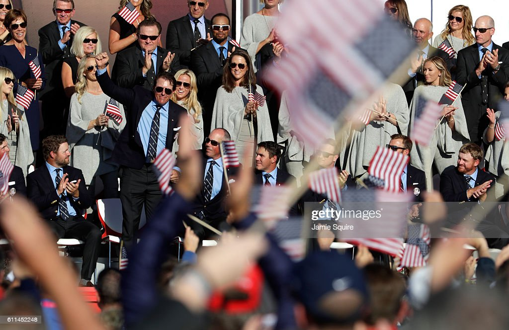 Phil Mickelson of the United States reacts during the 2016 Ryder Cup Opening Ceremony at Hazeltine National Golf Club on September 29, 2016 in Chaska, Minnesota.
