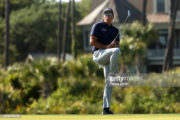 Phil Mickelson of the United States reacts on the 11th green during the final round of the 2021 PGA Championship held at the Ocean Course of Kiawah...