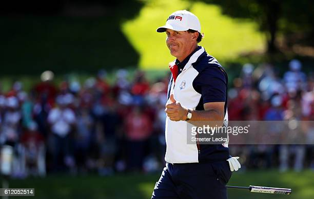 Phil Mickelson of the United States reacts on the 15th green during singles matches of the 2016 Ryder Cup at Hazeltine National Golf Club on October...