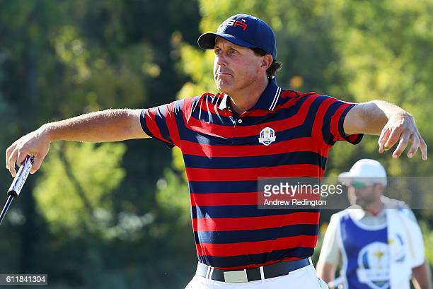 Phil Mickelson of the United States reacts on the tenth green during afternoon fourball matches of the 2016 Ryder Cup at Hazeltine National Golf Club...
