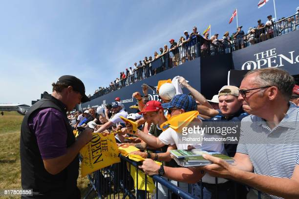 Phil Mickelson of the United States signs autographs during a practice round prior to the 146th Open Championship at Royal Birkdale on July 18 2017...
