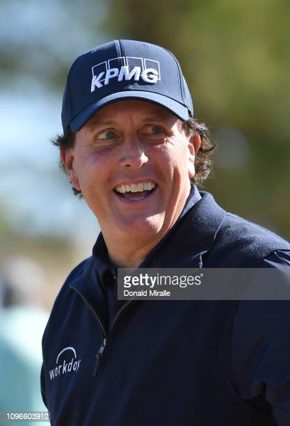 Phil Mickelson of the United States talks reacts to a shot on the 4th tee during the third round of the Desert Classic at the Stadium Course on...
