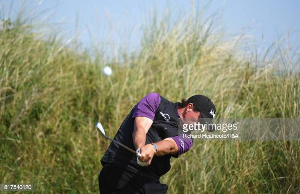 Phil Mickelson of the United States tees off during a practice round prior to the 146th Open Championship at Royal Birkdale on July 18, 2017 in...